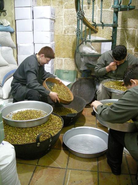 in a pistachio market in the Aleppo Souk, Syria