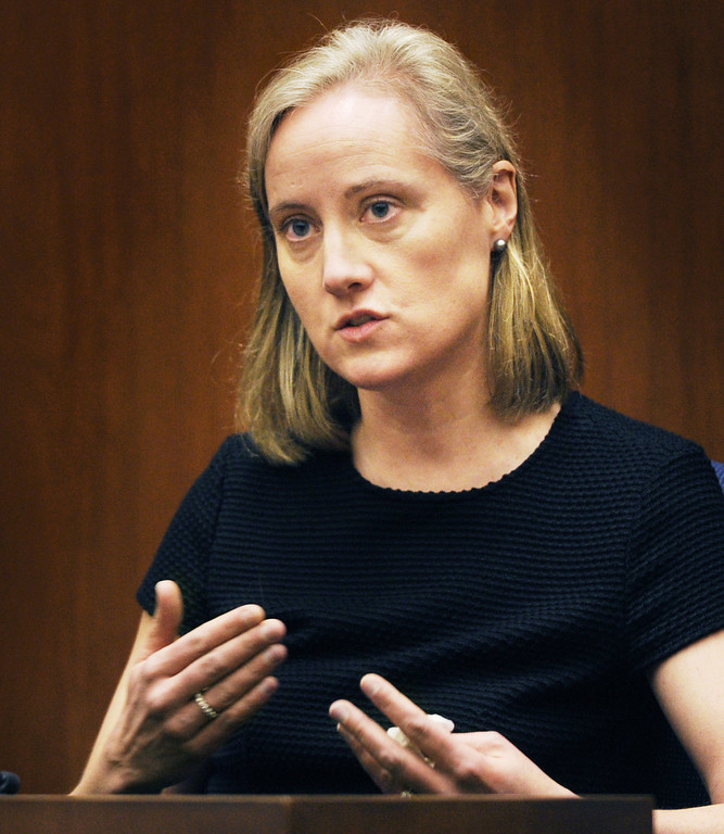 . Sandra Boss, former wife of Christian Karl Gerhartsreiter testifying. The prosecutor and defence have rested in the murder trial of Christian Karl Gerhartsreiter, at Clara Shortridge Foltz Criminal Justice Center in Los Angeles Wednesday,  April 3, 2013. He has pleaded not guilty to the killing of John Sohus, 27, who disappeared with his wife, Linda, in 1985 while Gerhartsreiter was a guest cottage tenant at the home of Sohus\' mother, where the couple lived. (Photo by Walt Mancini/SGVN)