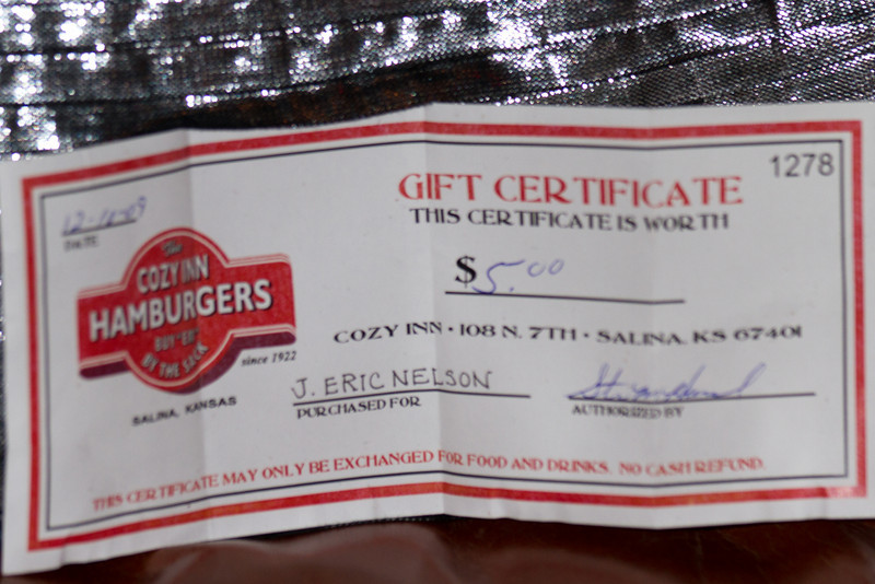 Eric proving that he carries around a Cozy gift certificate at all times should the need arise.
