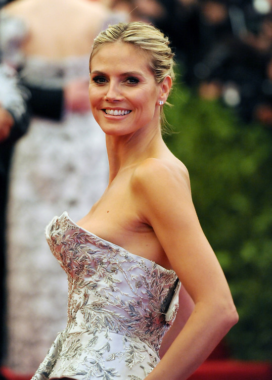 """. Heidi Klum attends The Metropolitan Museum of Art\'s Costume Institute benefit celebrating \""""PUNK: Chaos to Couture\"""" on Monday, May 6, 2013 in New York. (Photo by Evan Agostini/Invision/AP)"""
