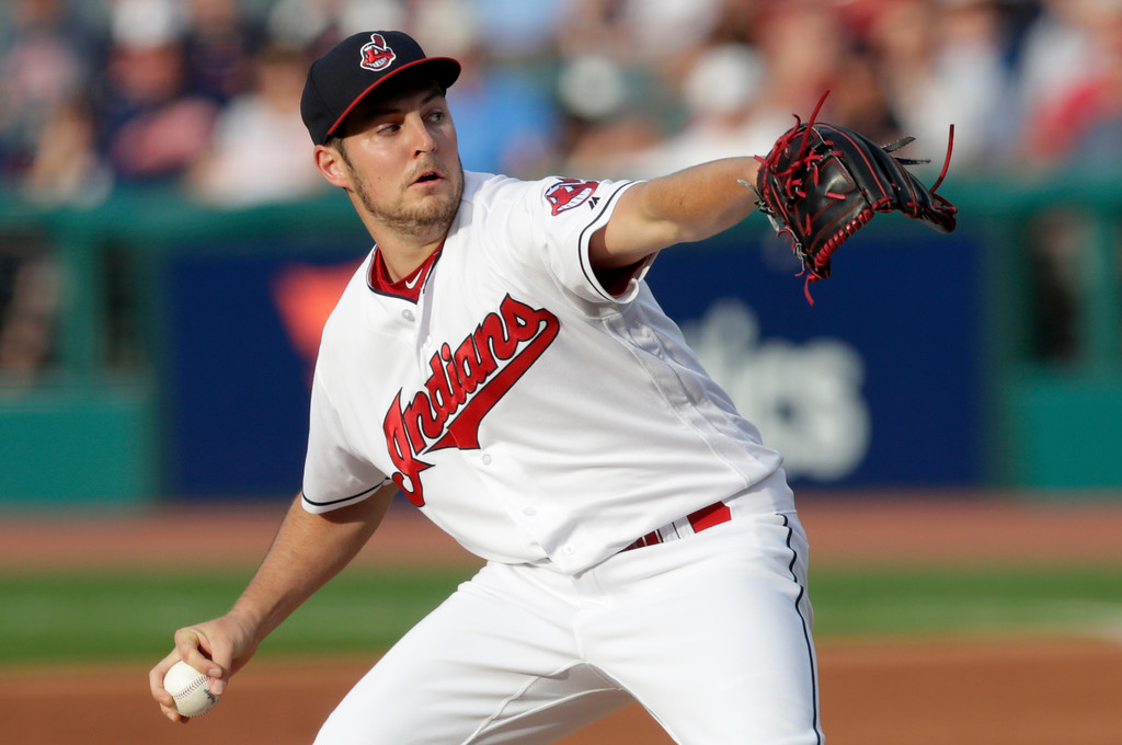 . Cleveland Indians starting pitcher Trevor Bauer delivers in the first inning of a baseball game against the Chicago White Sox, Monday, June 18, 2018, in Cleveland. (AP Photo/Tony Dejak)