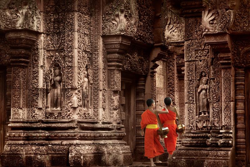 """""""Little Guardians""""  Banteay Srei temple."""