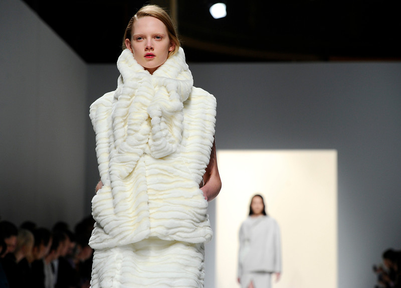. A model wears a creation for fashion designer Hussein Chalayan\'s ready-to-wear fall/winter 2014-2015 fashion collection presented in Paris, Friday, Feb.28, 2014. (AP Photo/Zacharie Scheurer)