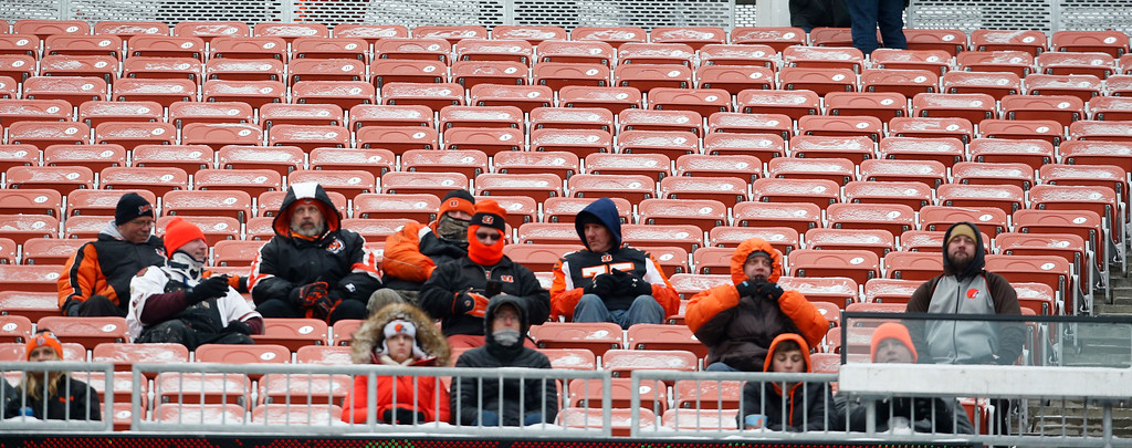 . Empty seats are shown in the second half of an NFL football game between the Cincinnati Bengals and the Cleveland Browns, Sunday, Dec. 11, 2016, in Cleveland. (AP Photo/Ron Schwane)