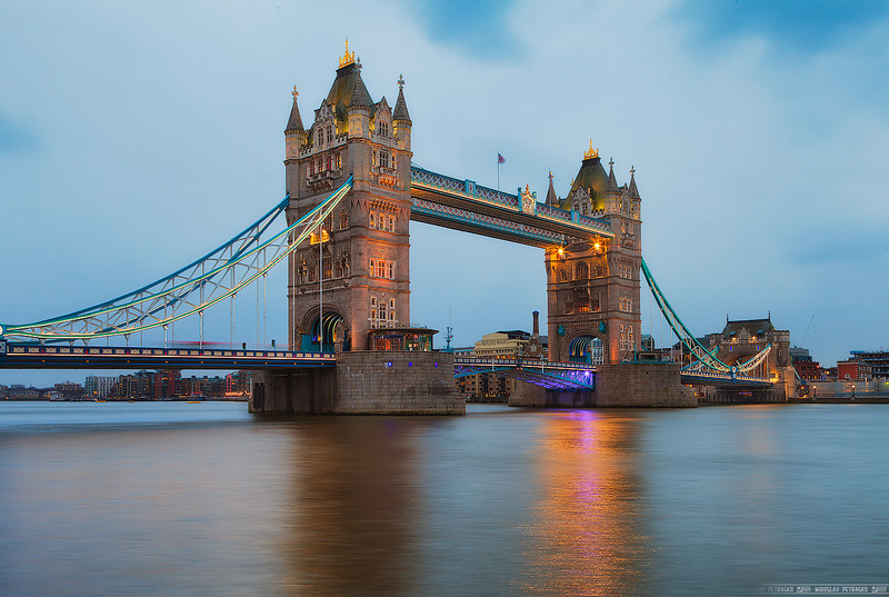 Lights reflecting from the Tower bridge