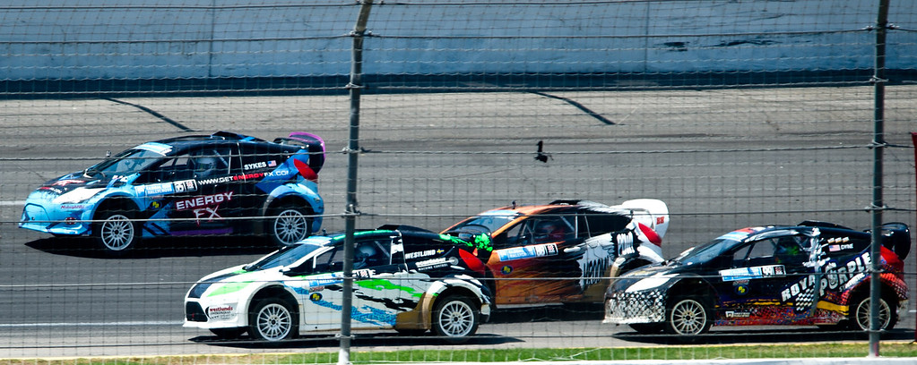. Drivers compete in the Ford RallyCross Lites final round during X Games Los Angeles at Irwindale Event Center on Sunday, August 4, 2013. Joni Wiman (#93) won gold.  (SGVN/Staff photo by Watchara Phomicinda)