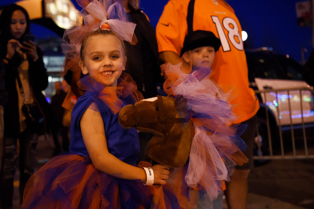 . SAN FRANCISCO, CA - FEBRUARY 05: Little Thunder, 5 year old Grace Johnson waits with her brother Wyatt 8, and family outside of the NFL Experience in downtown San Francisco, CA. February 05, 2016 (Photo by Joe Amon/The Denver Post)