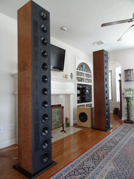 """The DR912a line arrays speaker system includes two 7' 8"""" towers, each housing nine BG Neo8 PDR planar tweeters and twelve 7"""" Dayton Audio RS180 midwoofers. Bass is provided by a TC Sounds EPIC 12 subwoofer in a 2.8 cu ft ported enclosure. The system is tri amplified using two Emotiva Audio UPA2 amplifiers and one Dayton Audio 500W subwoofer amp. A DEQX digital signal processing preamp is used for the active crossover (100hz and 1.2khz) speaker equalization and room correction."""
