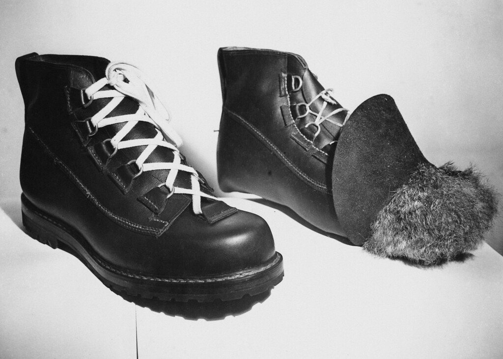 . Boots for Hillary and Norgay\'s expedition were handmade by Messrs. Robert Lawrie Ltd of London.  The boot on the right is still under construction, and the fur interlining can be seen. The boots were built to be durable at heights of 23,000 feet. (Photo by Ron Burton/Keystone/Getty Images)