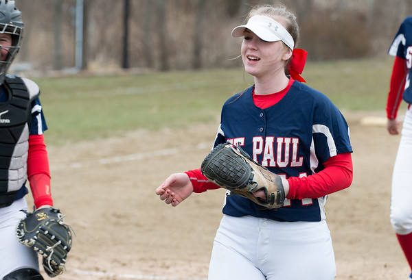 04/02/19 Wesley Bunnell | Staff St. Paul softball defeated Ansonia at home on Tuesday afternoon. Abby Poirot (44)