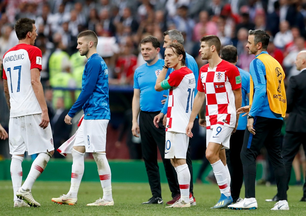 . Croatia players react at the end of the final match between France and Croatia at the 2018 soccer World Cup in the Luzhniki Stadium in Moscow, Russia, Sunday, July 15, 2018. France won 4-2. (AP Photo/Petr David Josek)