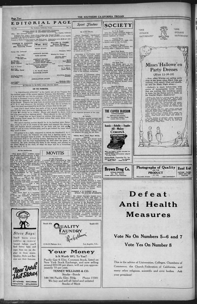 The Southern California Trojan, Vol. 12, No. 21, October 29, 1920