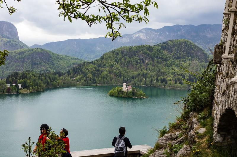 Lake view with mountains surrounding the lake.