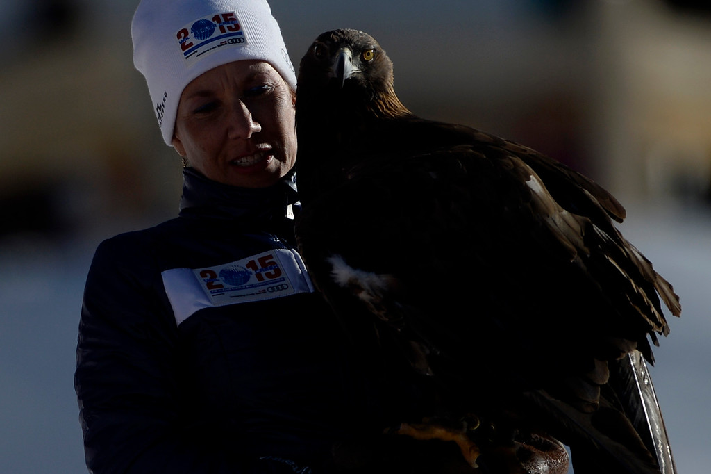 . BEAVER CREEK, CO - FEBRUARY 09: A handler holds an eagle during the ladies\' alpine combined final. FIS Alpine World Ski Championships 2015 on Monday, February 9, 2015. (Photo by AAron Ontiveroz/The Denver Post)