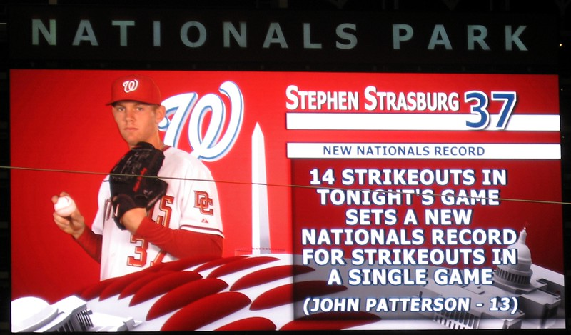 Stephen Strasburg's 14 strikeouts set a new team record.  Although the record for most strikeouts in a major league game is 21 (also set by a Washington player), and the record for most strikeouts in a nine-inning major league game is 20, Strasburg did become the first pitcher in history to score 14 strikeouts with no walks in his major league debut.  Only five other pitchers since 1900 have scored 14 strikeouts with no walks in seven innings of any game in their careers.