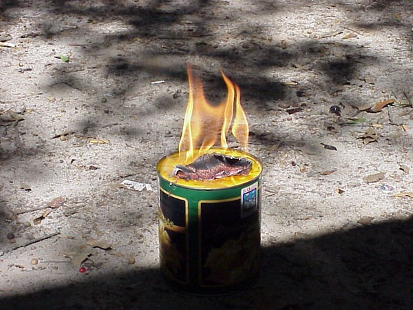 We decide to see how long a gallon of Nacho Cheese Flavored Food Product will burn