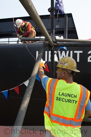 Preparations for the launch of the Kiewit 204 barge.