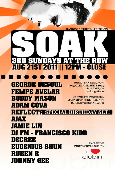 Randy & Friends presents SOAK @ ROUX Louisana Kitchen 8.21.11
