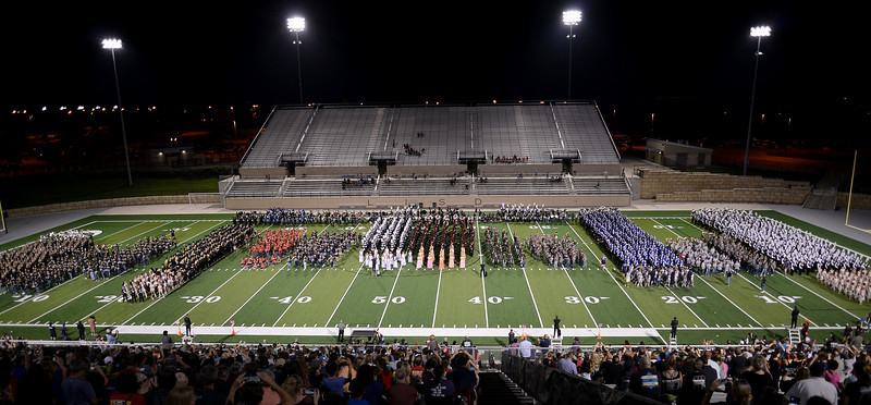 All of Leander ISD's band programs - from its eight middle schools and six high schools - share their field for a combined finale performance.