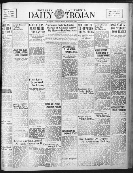 Daily Trojan, Vol. 23, No. 97, February 29, 1932