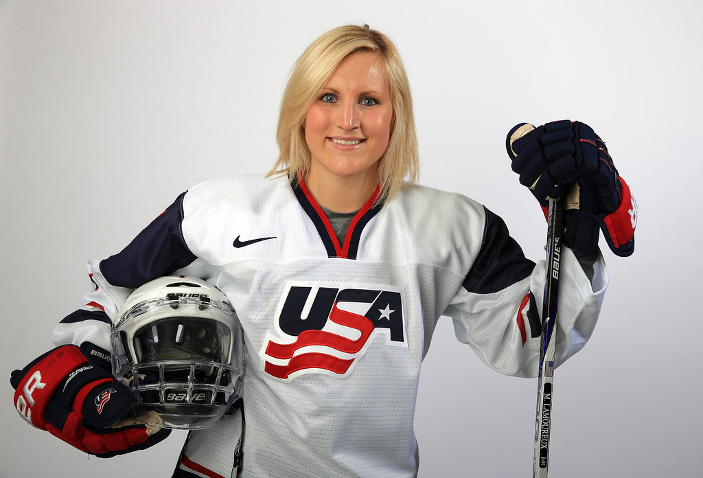 . Ice Hockey player Monique Lamoureux poses for a portrait during the USOC Media Summit ahead of the Sochi 2014 Winter Olympics on October 2, 2013 in Park City, Utah.  (Photo by Doug Pensinger/Getty Images)