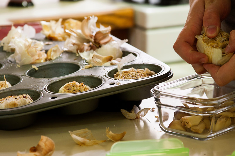 October 5, 2012. Day 273.  Roasted garlic for the freezer. Something I've never thought of before!  Wasilla, AK
