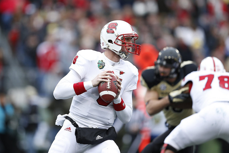 . Mike Glennon #8 of the North Carolina State Wolfpack looks to pass the ball against the Vanderbilt Commodores during the Franklin American Mortgage Music City Bowl at LP Field on December 31, 2012 in Nashville, Tennessee. (Photo by Joe Robbins/Getty Images)