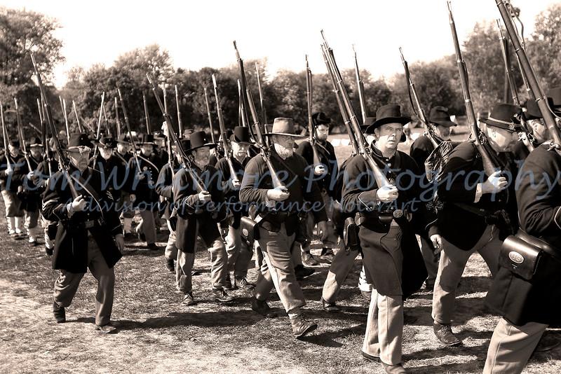 Soldiers at Antietam National Battlefield Park.