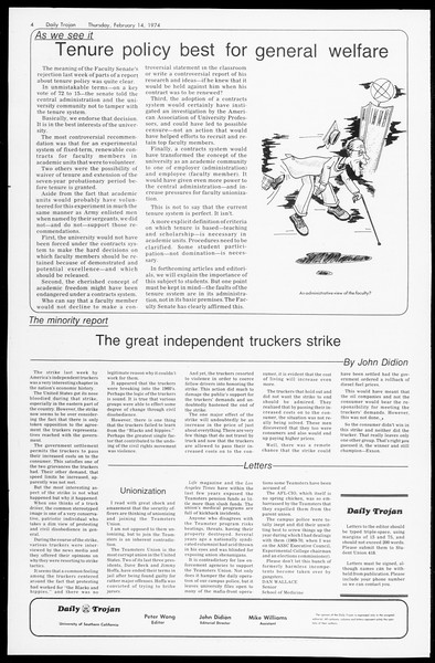 Daily Trojan, Vol. 66, No. 72, February 14, 1974