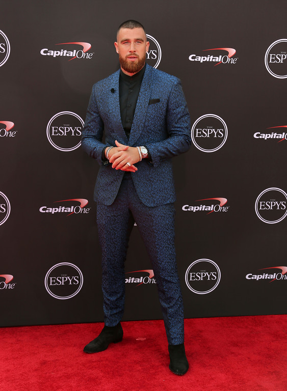 . Kansas City Chiefs\' Travis Kelce arrives at the ESPY Awards at Microsoft Theater on Wednesday, July 18, 2018, in Los Angeles. (Photo by Willy Sanjuan/Invision/AP)