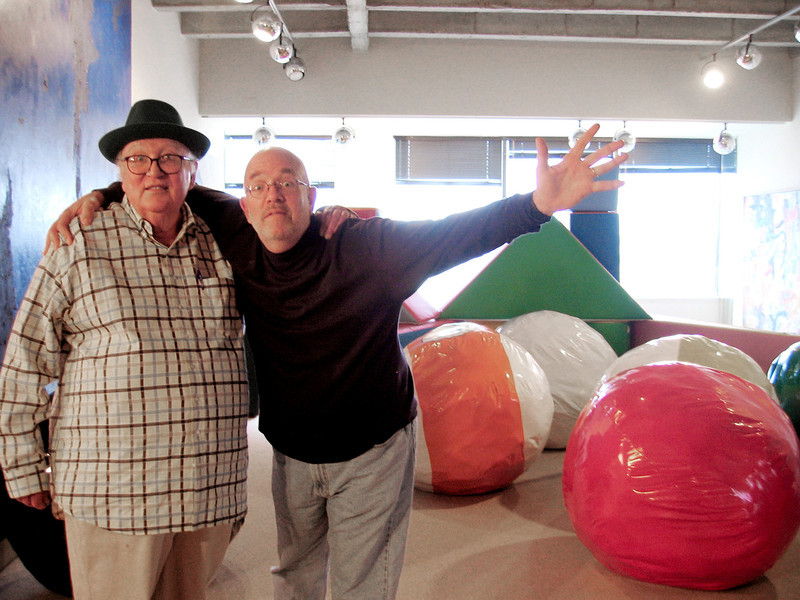 ". Stanley Marsh 3, left,  and longtime friend and photographer Wyatt McSpadden, pose in Marsh\'s Amarillo, Texas,  office, March 12, 2009 in front of some of the pool balls that eventually will dot a oversized pool table (about the size of a football field) that Marsh plans to hide somewhere in the Texas Panhandle. Marsh says ""Art should be hidden and I believe people should see it by surprise,\"" (AP Photo/Betsy Blaney)"