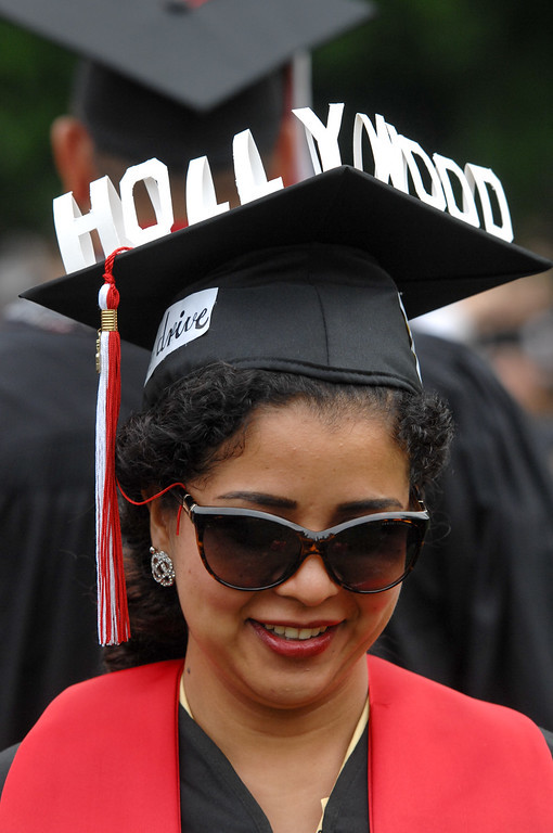 . Theatre arts major Cathy Gutierrez wears a Hollywood logo on her mortarboard at the commencement ceremonies at CSUN, Tuesday, May 21, 2013. (Michael Owen Baker/L.A. Daily News)