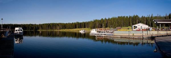 Panoramic of Yellowstone Lake Boat Launch