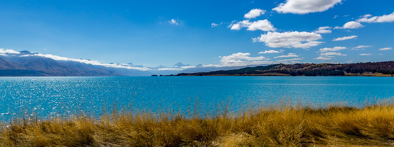«Alps to Ocean Trail»: Blick vom «Lake Pukaki» Richtung «Mount Cook»