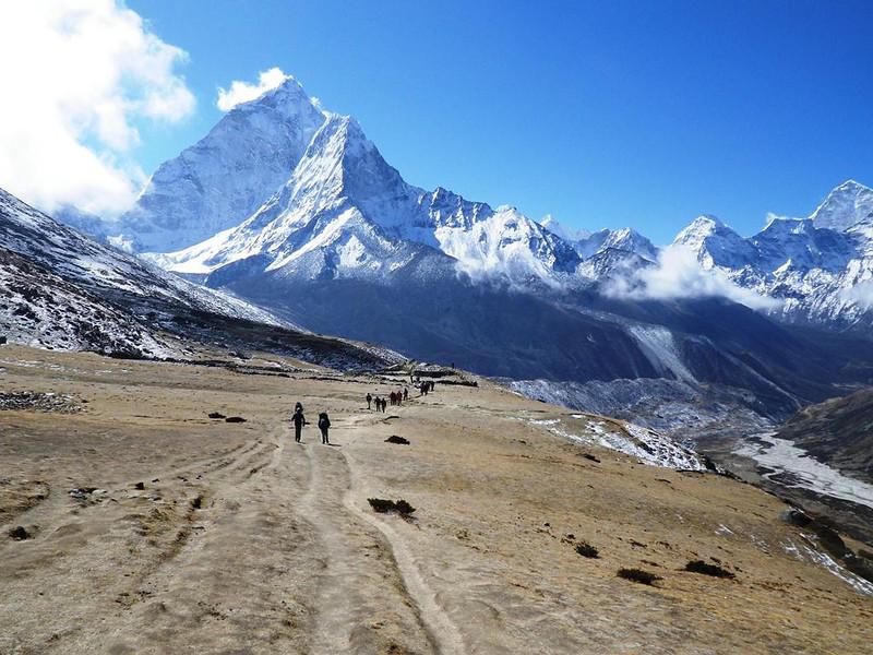 Looking back in Khumbu Valley towards Ama Dablam (22,493ft = 6.856m).