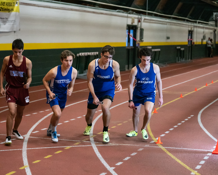 Senior Eric Reitz in the first leg of the 4x800 relay. VUHS takes home first place while setting an event record with a time of 8:42.92 in the Boys 4x800 relay. Vermont Division II Indoor Track State Championships - UVM Gutterson Field House - 2/16/2020