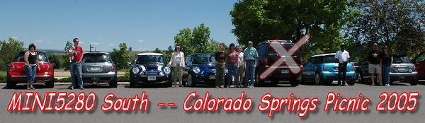 The South chapter of MINI5280.org enjoyed a picnic in Colorado Springs, followed by a ride in Cheyenne Canyon.