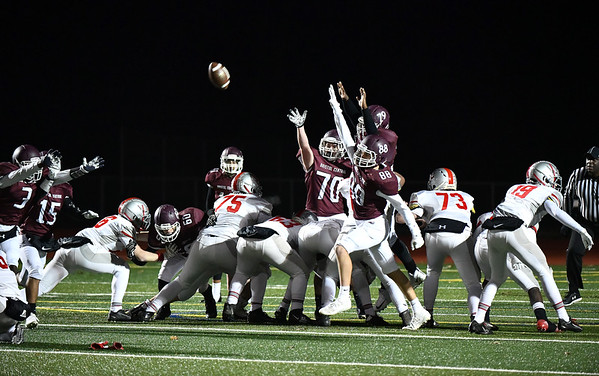 11/15/2019 Mike Orazzi rBristol Central as Conard High School records a field goal during Friday night's football game at BC. rr