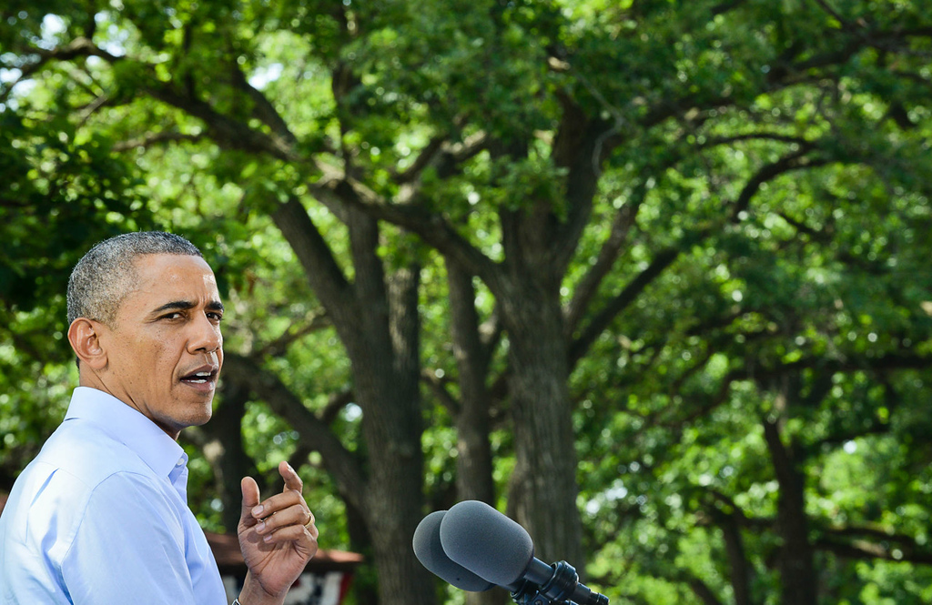 . President Barack Obama speaks at Minnehaha Park in Minneapolis on Thursday. (Pioneer Press: Ben Garvin)