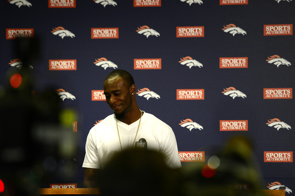. Dominique Rodgers Cromartie speaks during a press conference for the new Denver Broncos defensive back. Rodgers-Cromartie is among a number of signifigant off-season pick ups for the Broncos. (Photo by AAron Ontiveroz/The Denver Post)
