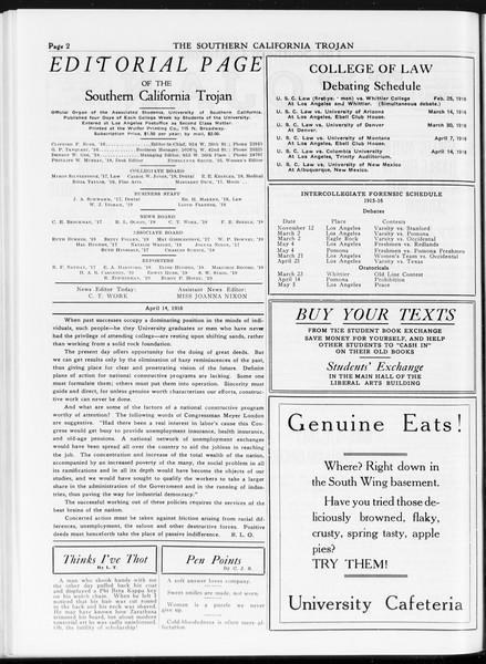 The Southern California Trojan, Vol. 7, No. 100, April 14, 1916