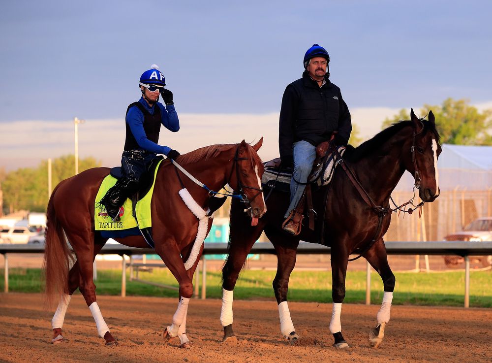. Trainer Steve Asmussen leads Kentucky Derby contender Tapiture onto the track during early morning workouts at Churchill Downs on May 1, 2014 in Louisville, Kentucky.  (Photo by Jamie Squire/Getty Images)