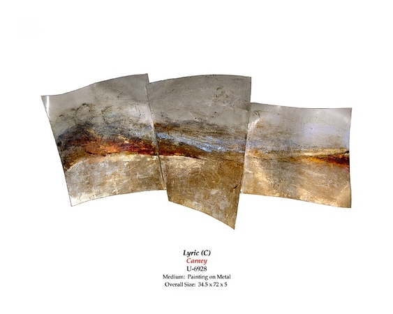 "Lyric-Carney, 34.5""x72""x5"" painting on metal"