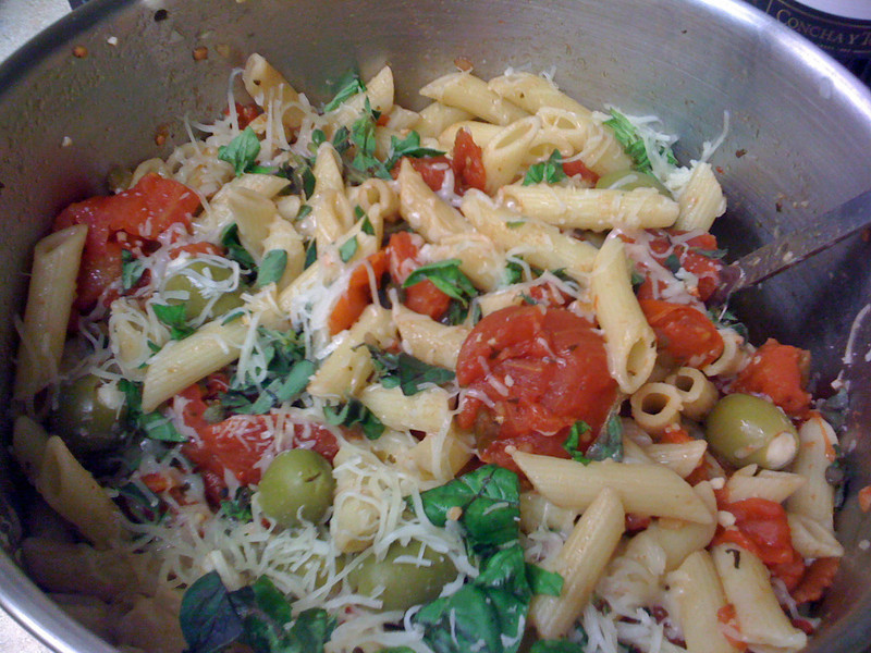 Penne Pasta with stewed tomatoes, feta stuffed olives, capers, fresh oregano & basil, in an olive oil & vinegar, with fresh mozarella.
