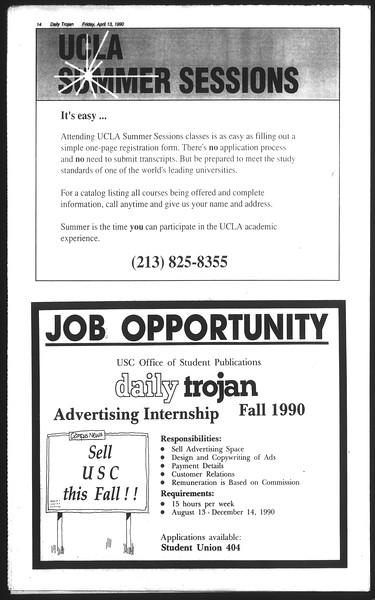Daily Trojan, Vol. 111, No. 58, April 13, 1990