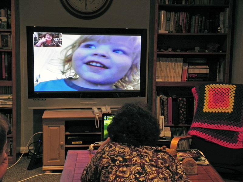 2012-1-29 ––– Kristen had texted us earlier in the week and said Olin was really missing us, so tonight we Skyped with them. It makes it so much easier to be so far away when we can talk and watch little Olin play and dance. He is starting to talk so much. Tonight was the first time I've heard him call me Pappa. I can't wait to see him in person in April.