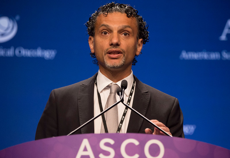 Salah-Eddin Al-Batran, MD, presenting abstract LBA 4001, FAST: An international, multicenter, randomized, phase II trial of epirubicin, oxaliplatin, and capecitabine (EOX) with or without IMAB362, a first-in-class anti-CLDN18.2 antibody, as first-line therapy in patients with advanced CLDN18.2+ gastric and gastroesophageal junction (GEJ) adenocarcinoma during the Gastrointestinal (Colorectal) Cancer Oral Abstract Session