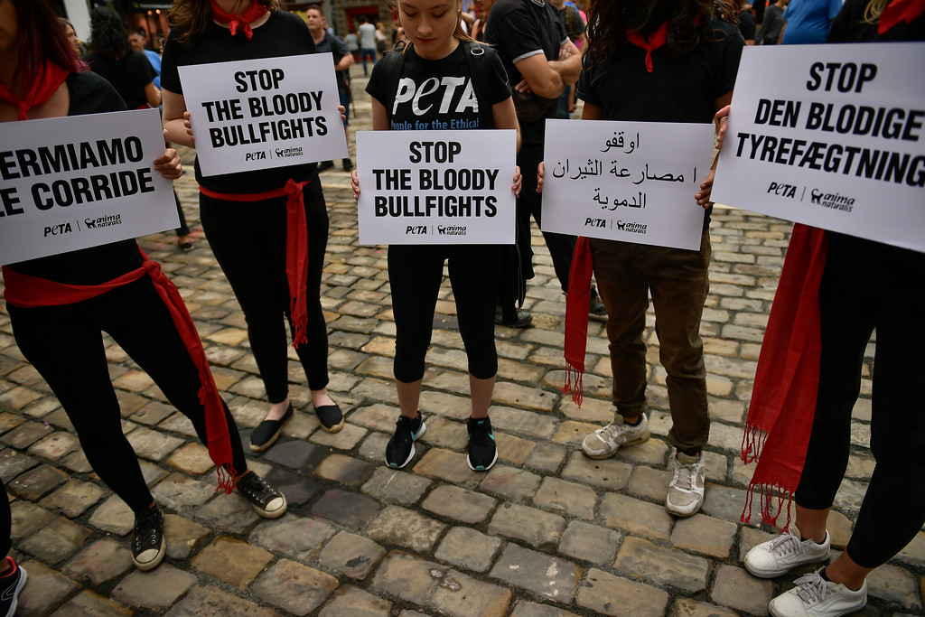 . Demonstrators holds some signs in several languages as they protests against bullfighting in front of the City Hall a day before of the famous San Fermin festival, in Pamplona, northern Spain, Thursday, July 5, 2018. The festival will begin on July 6 with the \'\'txupinazo\'\' opening ceremony, with people participating in bull runs, music and dance, through the old city. (AP Photo/Alvaro Barrientos)