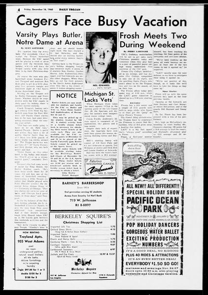Daily Trojan, Vol. 52, No. 61, December 16, 1960