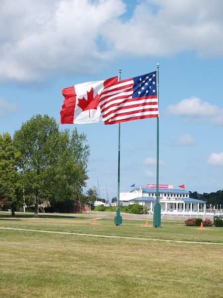 We fly two flags in recognition of the lasting peace between the US, Great Britain and Canada. In 2009, the British flag will join these flags.